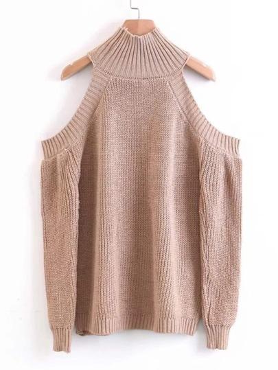 High Neck Open Shoulder Sweater