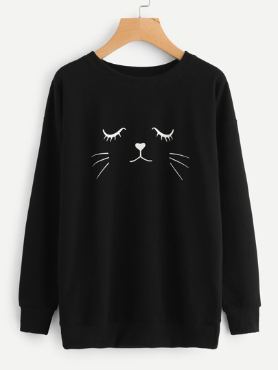 Sweat-shirt imprimé la tête de chat