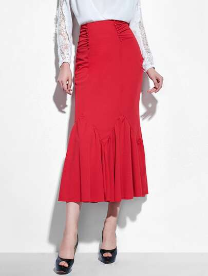 Frill Hem Bow Tie Back Long Skirt