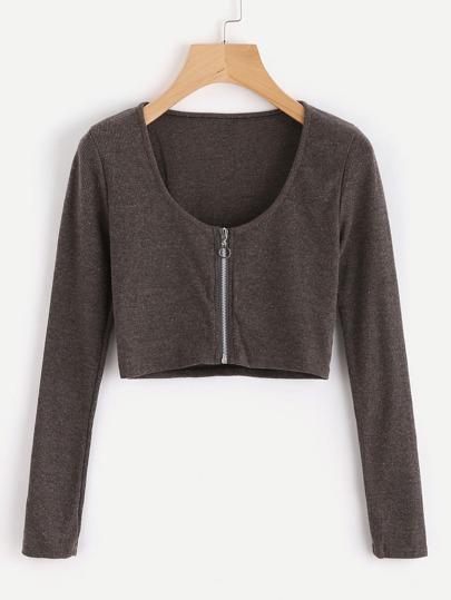 Top tricoté court avec zip