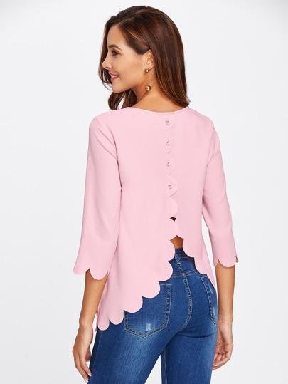 Blusa superpuesta con ribete festoneado