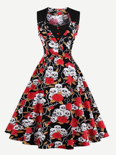 Skull Head Random Print Single Breasted Flare Dress