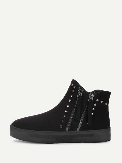 Side Zipper Studded Detail Flat Boots
