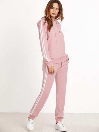 Raglan Sleeve Striped Hoodie And Sweatpants Set