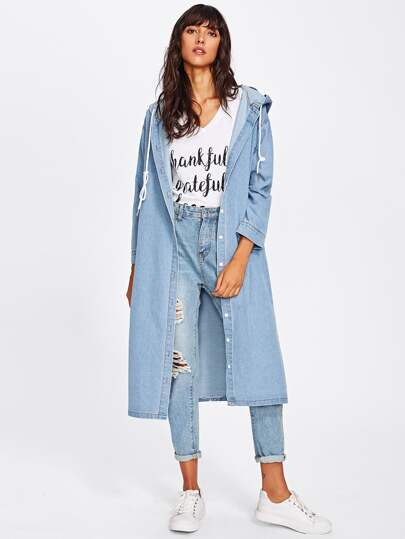 Drop Shoulder Longline Hooded Denim Coat