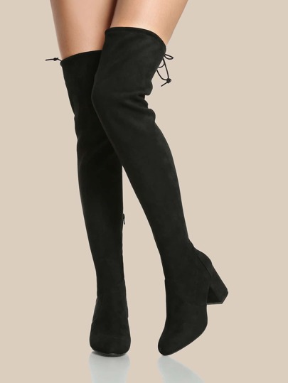Round Toe Zip Up Drawstring OTK Boots BLACK