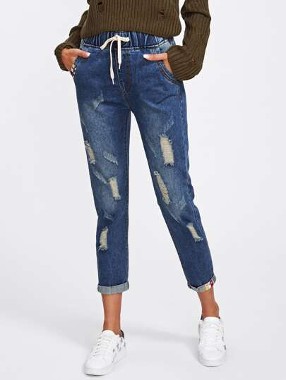 Destructed Tape Detail Cuffed Jeans