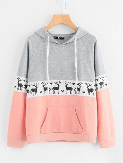 Cut And Sew Raglan Sleeve Deer Print Hoodie