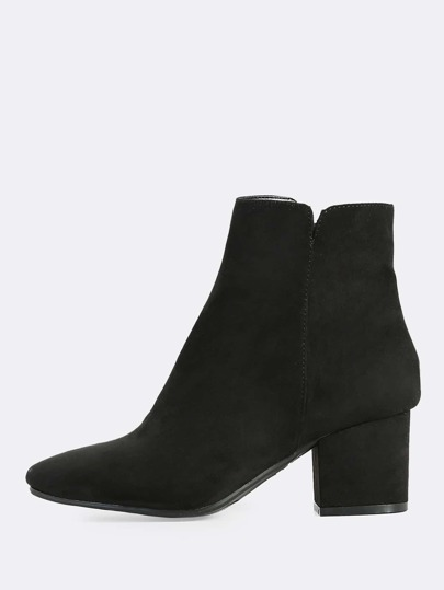 Faux Suede Zip Up Booties BLACK