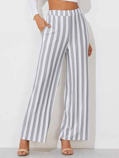 Block Striped Wide Leg Pants