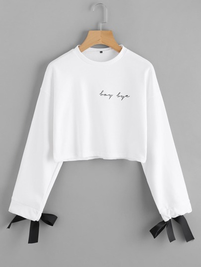 Contrast Bow Tie Cuff Printed Pullover