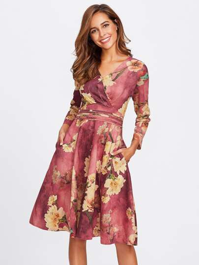 Floral Print Random Zip Back Surplice Dress