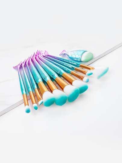 Ombre Mermaid Handle Makeup Brush Set 10pcs