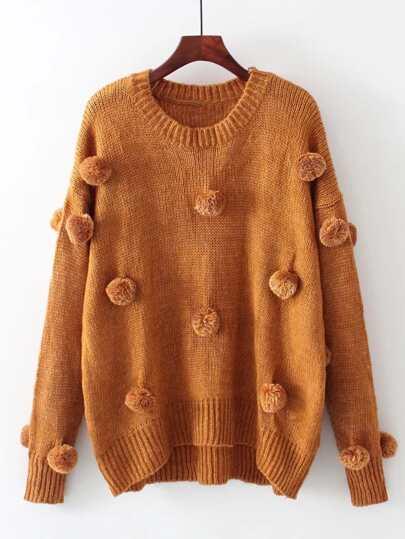 Pom Pom Design Drop Shoulder Knitwear