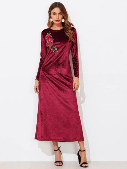 3D Rose Patch Velvet Dress