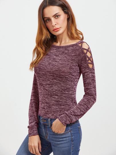 Open Shoulder Marled Crisscross T-shirt