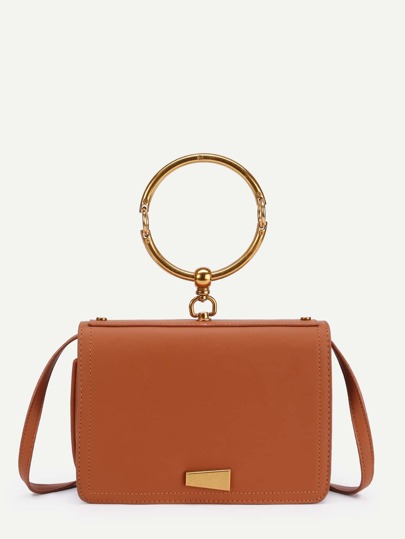 Metal Detail PU Shoulder Bag With Ring Handle