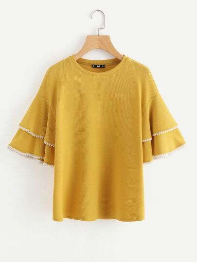 Pearl Trim Layered Trumpet Sleeve Textured Top