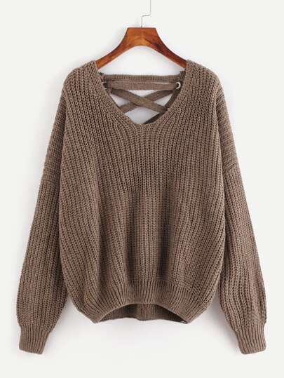 Grommet Lace Up Plunge Back Chunky Knit Sweater