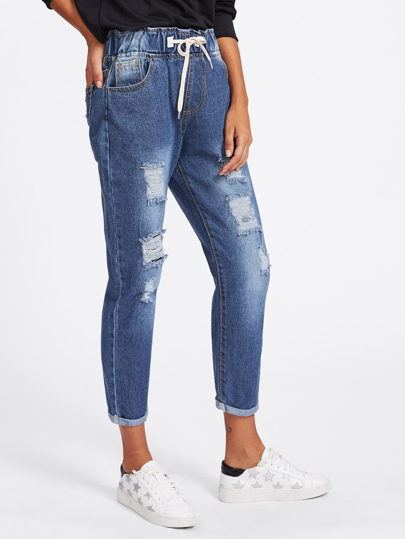 Drawstring Rolled Up Crop Jeans