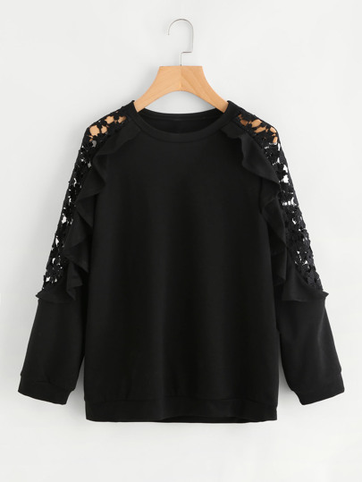 Guipure Lace Panel Frill Trim Sweatshirt