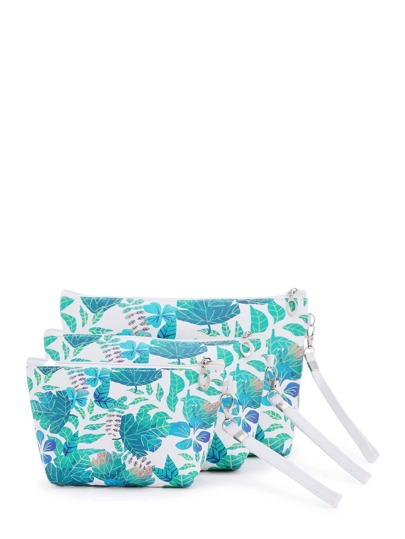 Leaf Print Makeup Bag 3pcs