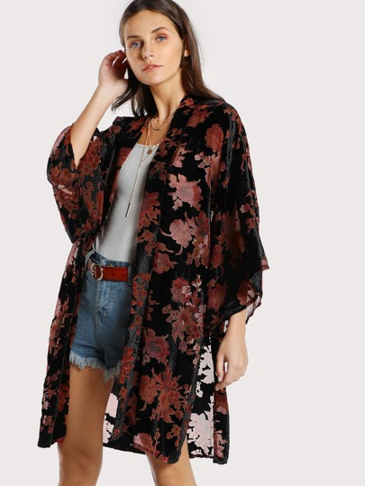 Velvet Floral Print Kimono BLACK