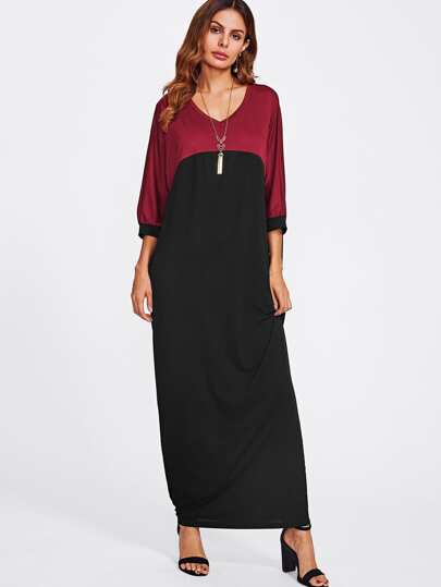 Batwing Sleeve Contrast Longline Dress