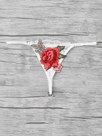 Rose Applique Lace Thong