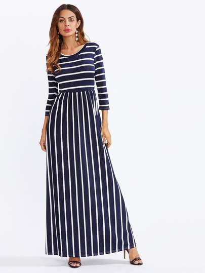 Contrast Stripe Full Length Dress