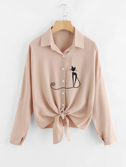 Shirt pan avec nœud brodé chat avec la chute de l\'épaule