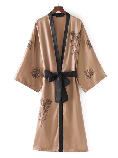 Embroidery Detail Self Tie Longline Satin Kimono