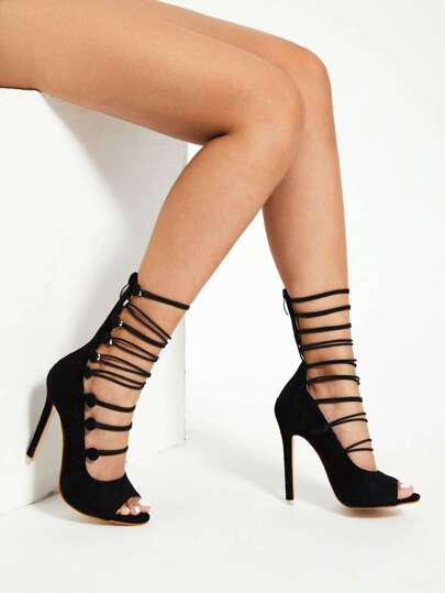 Open Toe Side Button High Heels