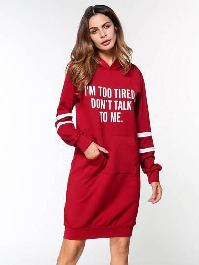 Hoodie Kleid mit Streifen und Buchstaben