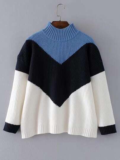 Chevron Block Ribbed Knit Sweater