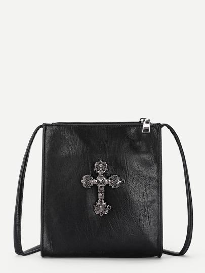 Cross Front PU Crossbody Bag