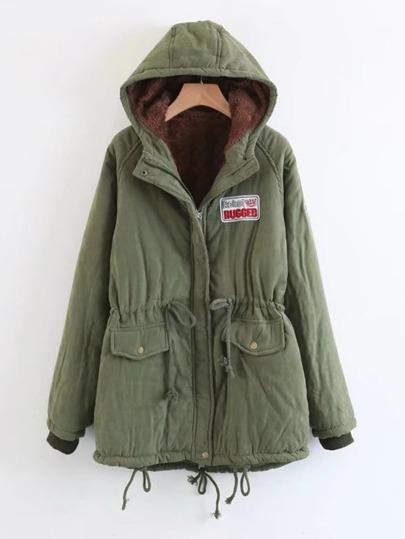 Patch Detail Faux Fur Lined Parka Coat