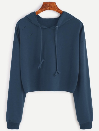 Drop Shoulder Ripped Hooded Crop Sweatshirt