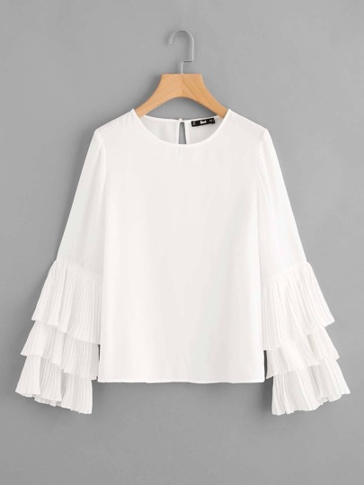 Layered Pleated Fluted Sleeve Top