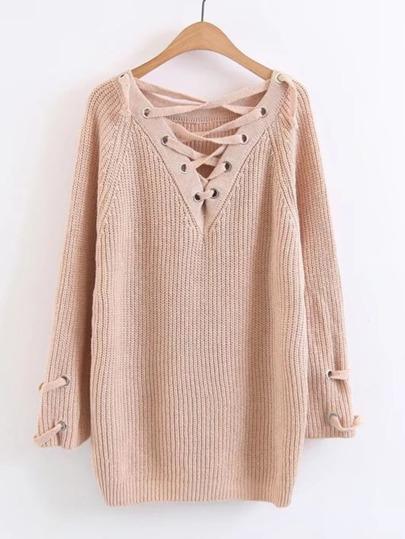 Pullover mit Schnürung,V-Ausschnitt und Raglan Ärmeln