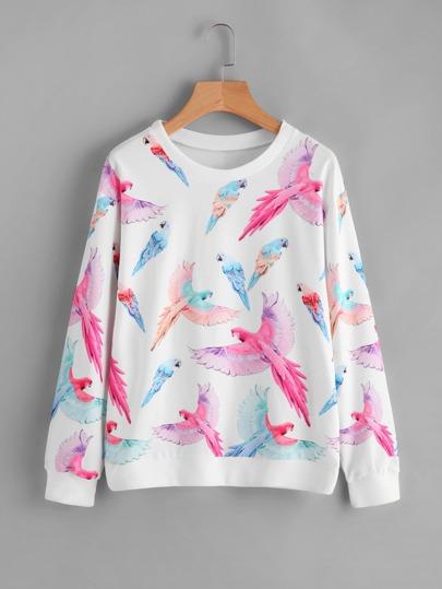 Random Parrot Print Ribbed Trim Sweatshirt