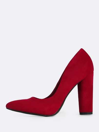 Point Toe Circle Heels RED