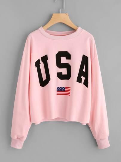 America Flag Print Sweatshirt