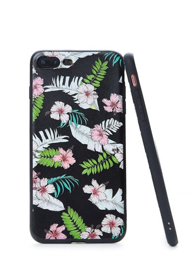 Flower & Leaf Print iPhone Case