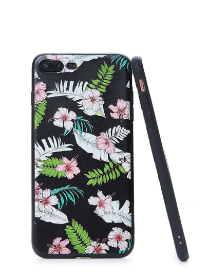 Funda de iPhone con flor y hoja