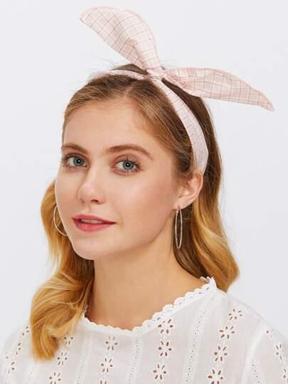 Stirnband mit Karomuster und Ohrdesign