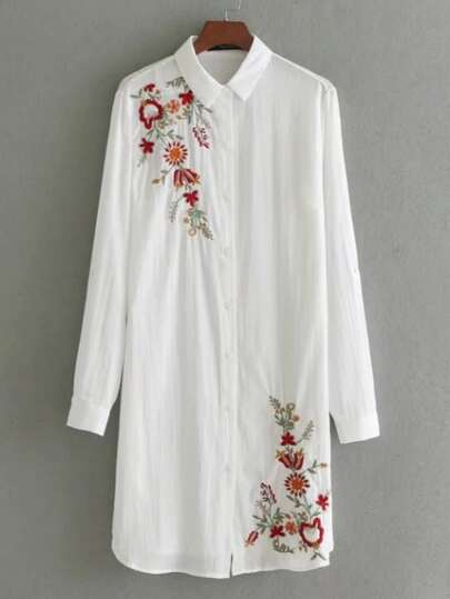 Embroidery Detail Shirt Dress
