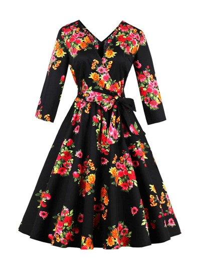 Surplice Neckline Self Tie Random Florals Circle Dress