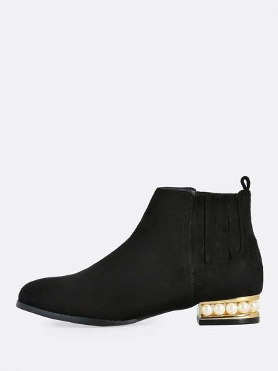 Pearl Accent Booties BLACK
