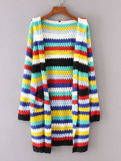 Block Striped Longline Hooded Cardigan
